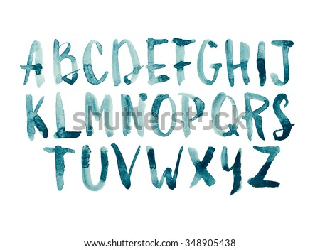 Watercolor aquarelle font type handwritten hand drawn doodle abc alphabet uppercase letters - stock photo