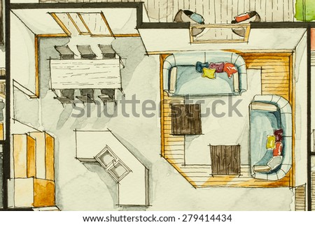 Watercolor aquarelle ink attractive sketchy drawing technique used for graphic representation of floor plan real estate property, showing cozy living room concept in isometric artistic freehand way - stock photo