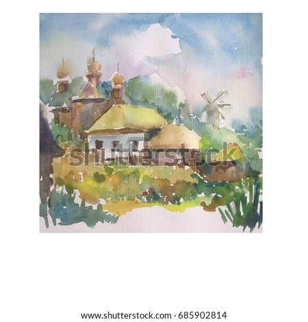 watercolor art background landscape  wet wash blurred colorful  village huts church mill summer travel folk handmade tourism rural