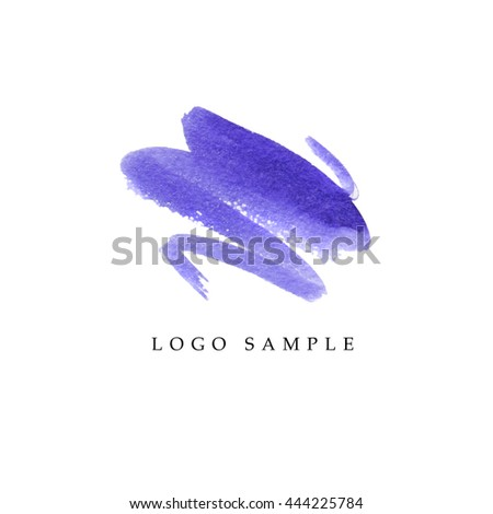 Watercolor artistic abstract creative logo sample design. Watercolor bruh stroke logo backdrop isolated on white background. Business company insignia unique element. Beauty fashion industry. - stock photo