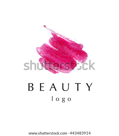 Watercolor artistic abstract creative logo sample design. Watercolor brush stroke logo backdrop isolated on white background. Business company insignia unique element. Beauty fashion industry. - stock photo