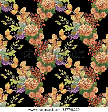 Watercolor autumn seamless pattern on black background with dogwood, flowers and yellow leaves - stock photo