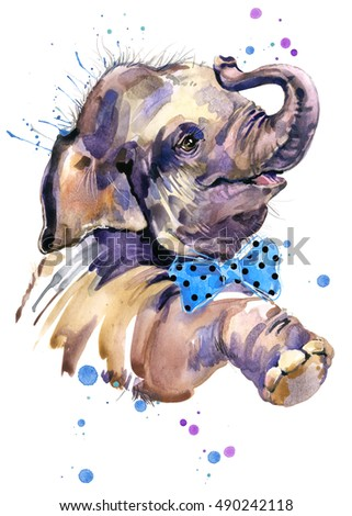 watercolor baby elephant illustration for fashion print, poster for textiles, fashion design.