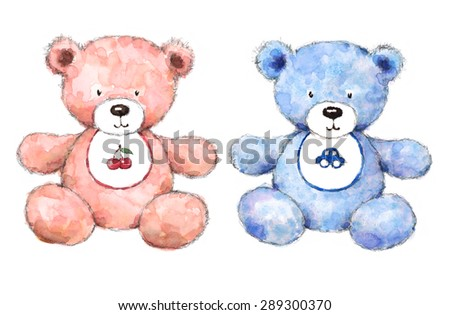 Watercolor Baby Teddy Bears Set Pastel Blue and Pink Boy and Girl Nursery Room Hand Painted Illustration isolated on white background - stock photo