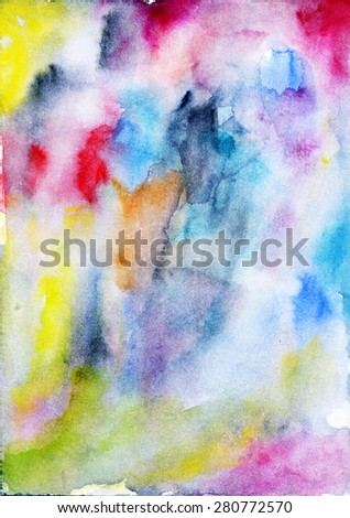 Watercolor background. Abstract vector hand-drawn colorful drawing. Suitable for children, decoration paper, home, design, concept, clothing, handicraft & scrap booking.