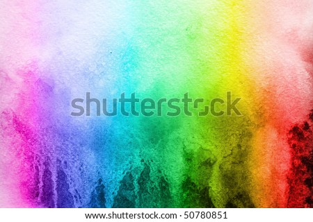 watercolor background color of the rainbow - stock photo