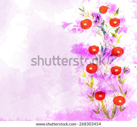 watercolor background, floral composition - stock photo