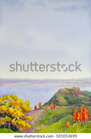 Watercolor background for the text with a magnificent autumn landscape of high steep slopes above the river - stock photo