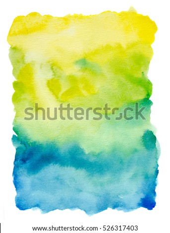 watercolor  background hand painted on white with yellow, green and blue tones