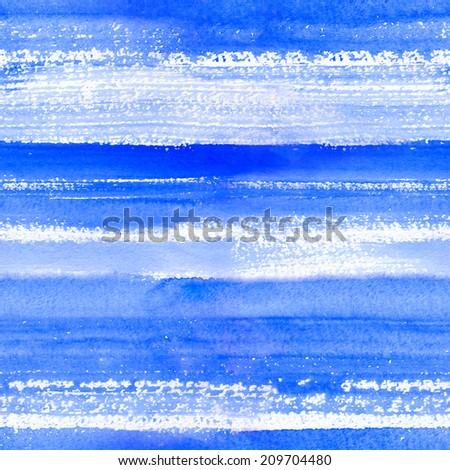 Watercolor background in blue colors of snowy Christmas - stock photo