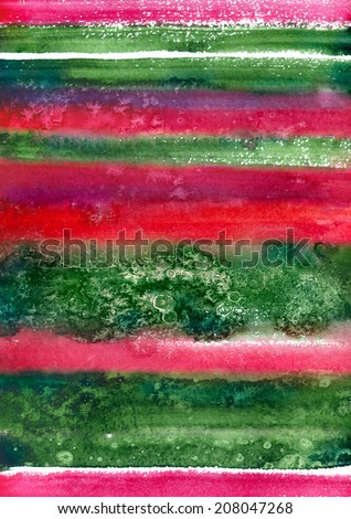 Watercolor background in green and red colors of Christmas - stock photo
