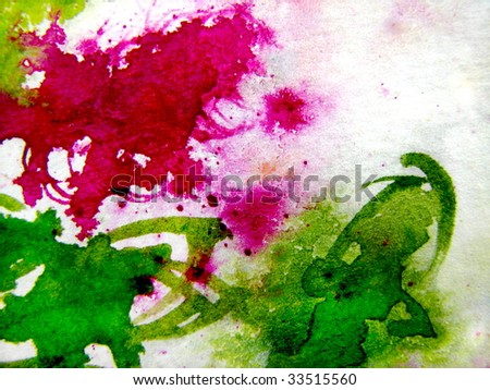 Watercolor Background in Pink and Green - stock photo