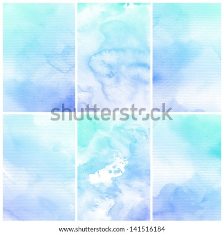 Watercolor Background. Set of colorful Abstract water color art hand paint