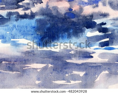 watercolor background sky clouds