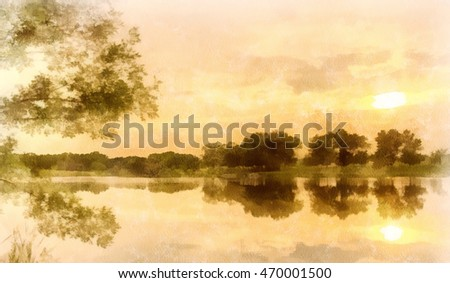 Watercolor background, sunset on a pond, cream. Beautiful summer landscape. The sky and trees are reflected in water. Silence and pacification.
