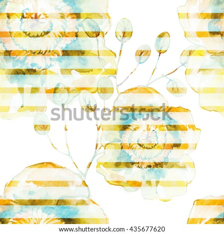 Watercolor background.The seamless exotic background drawn with water color paints. Picturesque drawing brush.Tropical drawing .Color llustration of flowers watercolor paintings .Yellow flowers. - stock photo