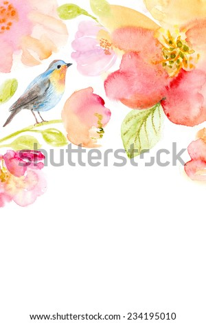 Watercolor background with beautiful flowers, holiday congratulatory card - stock photo