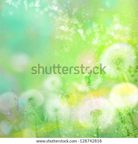 Watercolor background with dandelions - stock photo