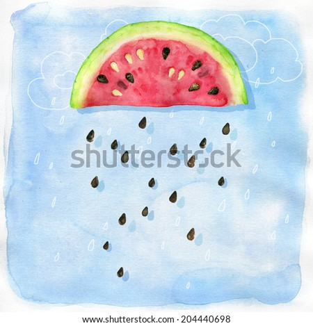 watercolor background with fantastic watermelon rain