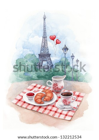 Watercolor background with illustration of eiffel tower and traditional breakfast - stock photo