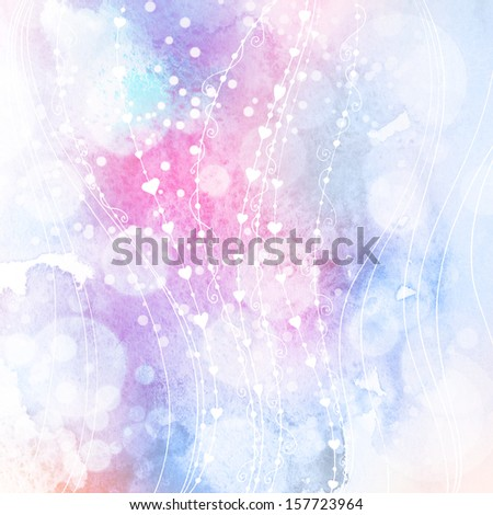 Watercolor background with ornament and bokeh lights - stock photo