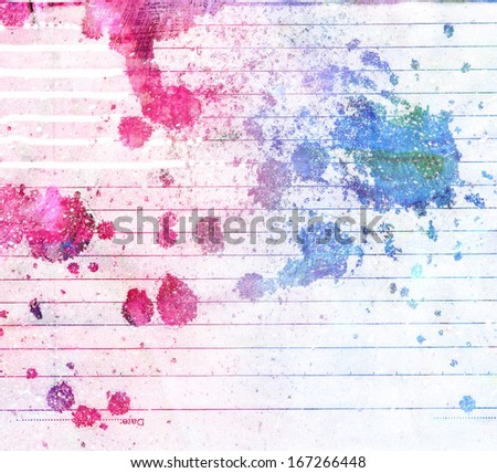 Watercolor background with texture. Paint blots, splatters, stain, blobs. Grunge paper template. Watercolor composition and backdrop for scrapbook elements with empty space for text message. - stock photo