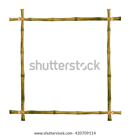 Watercolor bamboo frame with ropes isolated on white background. Hand painting on paper