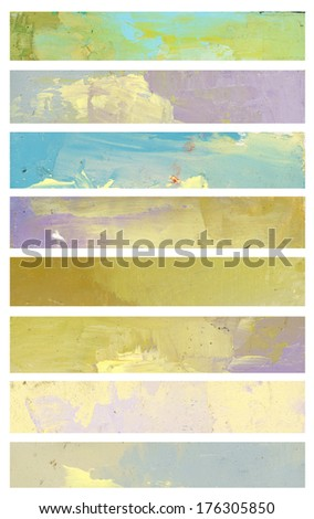 Watercolor banners. Isolated on white - stock photo