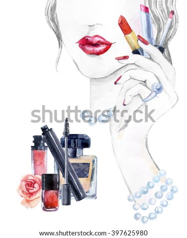 Watercolor beautiful face. woman portrait with lipstick in the hand. Essential makeup must-haves. Hand painted watercolor fashion background - stock photo
