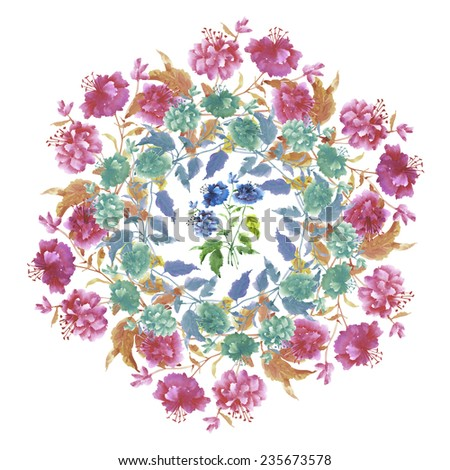 Watercolor Beautiful flowers wreath. Hand painted  illustration