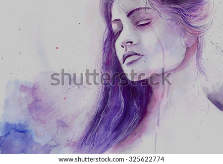Watercolor beautiful girl in a state of depression crying - stock photo