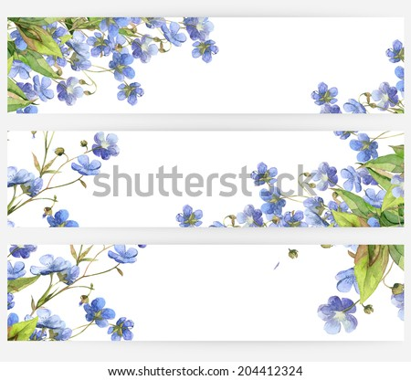 Watercolor beautiful handmade banners and frames set with blue flowers herb and grass  - stock photo