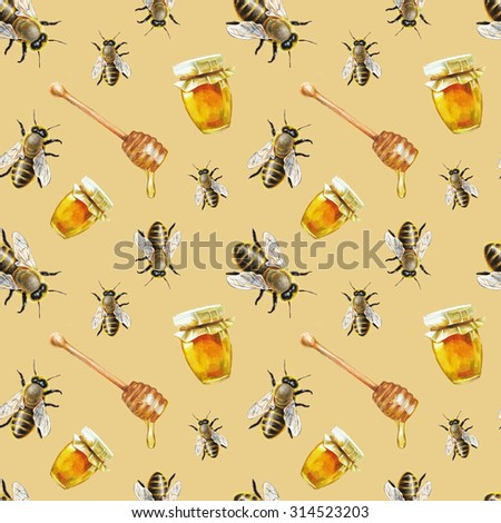 Watercolor bee and honey pattern