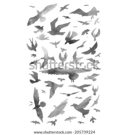 Watercolor birds background. Raster illustration. - stock photo