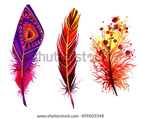 Watercolor birds feathers set. Hand painted artistic elements.Boho style feather.  - stock photo
