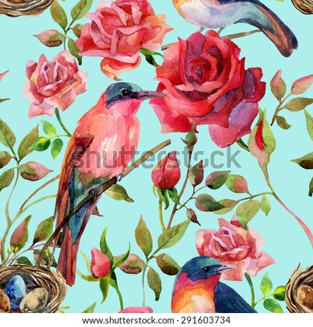 Watercolor birds on the pink and red roses. Hand painted seamless pattern on blue background - stock photo
