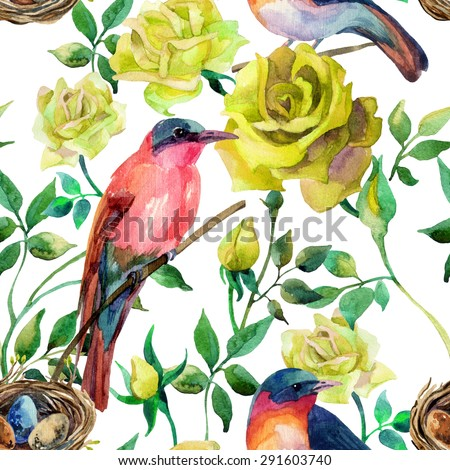 Watercolor birds on the yellow roses. Hand painted seamless pattern on white background - stock photo