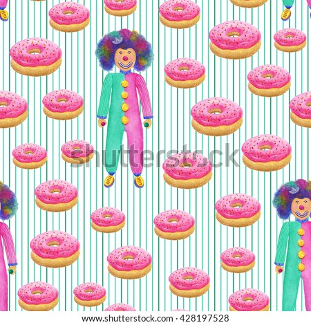 Watercolor birthday pattern. Watercolor background with clown and sweet donuts. Watercolor seamless pattern - stock photo