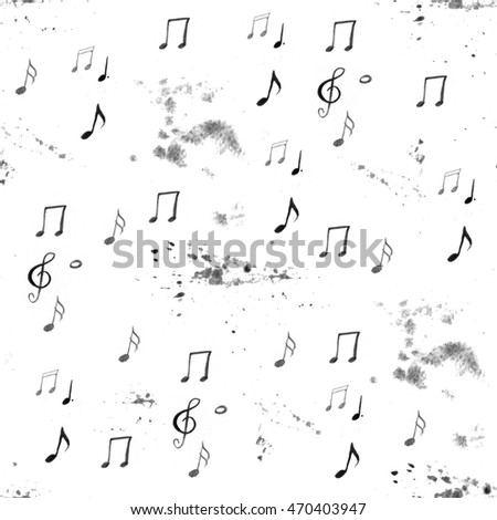 watercolor black and white artistic music background - seamless pattern