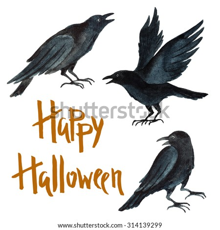 watercolor black crows poster for a happy halloween party