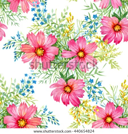 Watercolor blooming beautiful pink flowers seamless pattern on white background - stock photo
