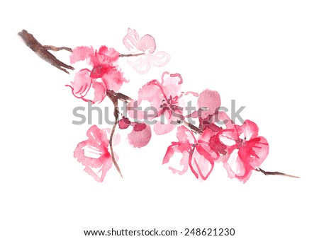 Watercolor blooming branch