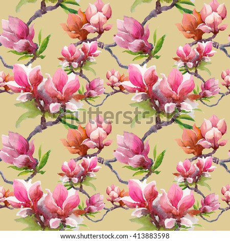 Watercolor blooming magnolia flowers seamless pattern on beige background  - stock photo