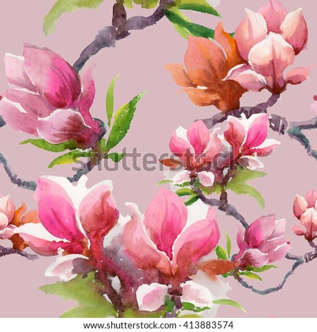 Watercolor blooming magnolia flowers seamless pattern on pink background  - stock photo