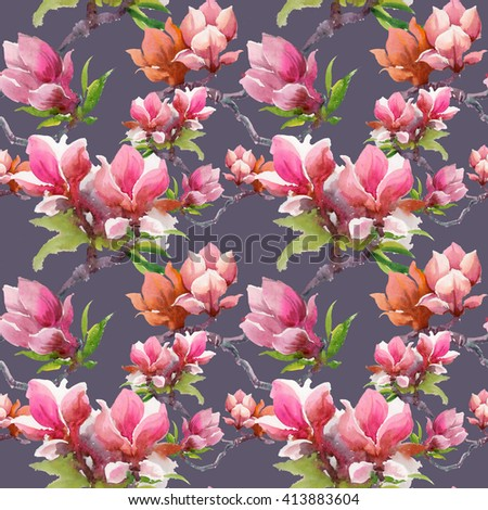 Watercolor blooming magnolia flowers seamless pattern on purple background  - stock photo