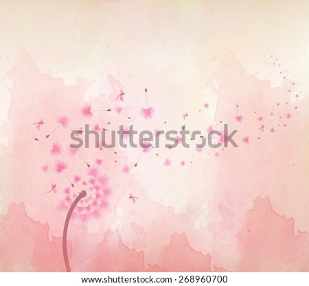 watercolor Blossom dandelions background - stock photo