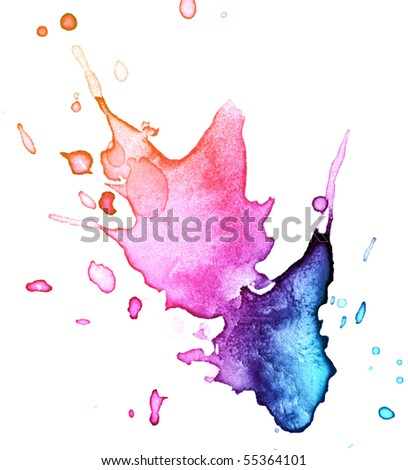 watercolor blot background, raster illustration - stock photo