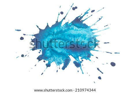 watercolor blot, drop, background isolated on white background - stock photo