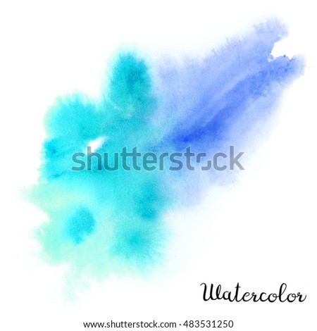 Watercolor blot. Hand drawn blot on white background for your design. Save the Date, postcard, banner, logo.