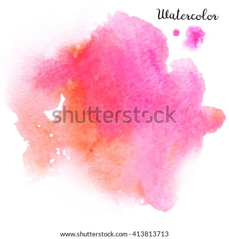 Watercolor blot isolated on white background. Pink and orange watercolor blot for your design.
